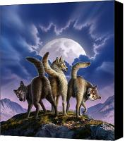 Full Moon Canvas Prints - 3 Wolves Mooning Canvas Print by Jerry LoFaro