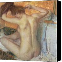 Wash Pastels Canvas Prints - Woman combing her hair Canvas Print by Edgar Degas