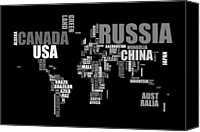 Global Digital Art Canvas Prints - World Map in Words Canvas Print by Michael Tompsett