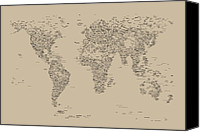 Panoramic Canvas Prints - World Map of Cities Canvas Print by Michael Tompsett