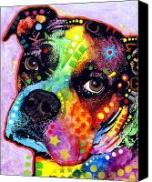 Portrait Mixed Media Canvas Prints - Young Boxer Canvas Print by Dean Russo