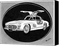 Charcoal Drawing Canvas Prints - 300 SL Gullwing Canvas Print by Peter Piatt