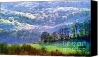 Dewy Painting Canvas Prints - Landscape Canvas Print by Odon Czintos