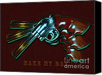 Clint Eastwood Canvas Prints - 357 Magnum - Make My Day - Painterly Canvas Print by Wingsdomain Art and Photography