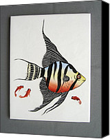 Fishes Ceramics Canvas Prints - 361 Tile with Fishes Canvas Print by Wilma Manhardt