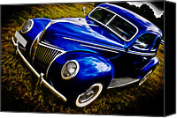 Blue Ford Canvas Prints - 39 Ford V8 Coupe Canvas Print by Phil 