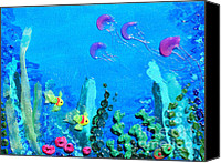 Impasto Reliefs Canvas Prints - 3D Under the Sea Canvas Print by Ruth Collis
