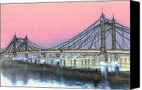 Albert Bridge Canvas Prints - Albert Bridge London Canvas Print by David Pyatt