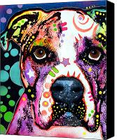 Dog Glass Canvas Prints - American Bulldog Canvas Print by Dean Russo