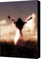 Long Hair Canvas Prints - Angel Canvas Print by Joana Kruse