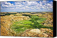 Desert Canvas Prints - Badlands in Alberta Canvas Print by Elena Elisseeva