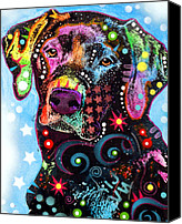 Dog Glass Canvas Prints - Black Lab Canvas Print by Dean Russo