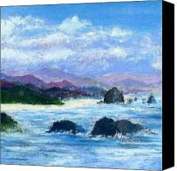 Seascape Pastels Canvas Prints - Cannon Beach Canvas Print by David Patterson