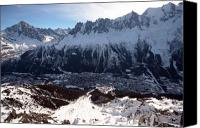 Snowboard Canvas Prints - Chamonix resort in the French Alps Canvas Print by Pierre Leclerc