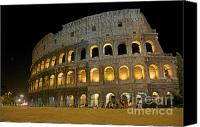Taxi Canvas Prints - Coliseum illuminated at night. Rome Canvas Print by Bernard Jaubert