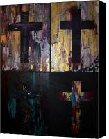 Crucifix Mixed Media Canvas Prints - 4 Crosses Canvas Print by Donielle Boal