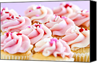 Decorated Canvas Prints - Cupcakes Canvas Print by Elena Elisseeva