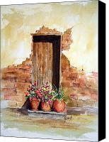 Door Canvas Prints - Door With Pots Canvas Print by Sam Sidders