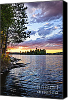 Pines Canvas Prints - Dramatic sunset at lake Canvas Print by Elena Elisseeva