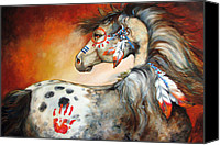 Pony Painting Canvas Prints - 4 Feathers Indian War Pony Canvas Print by Marcia Baldwin