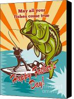 Retro Style Canvas Prints - Fly Fisherman on boat catching largemouth bass Canvas Print by Aloysius Patrimonio