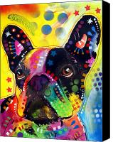 Oil  Canvas Prints - French Bulldog Canvas Print by Dean Russo