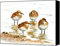 Shore Painting Canvas Prints - 4 Little Pipers Canvas Print by Marsha Elliott