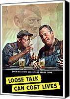 Caricature Mixed Media Canvas Prints - Loose Talk Can Cost Lives Canvas Print by War Is Hell Store