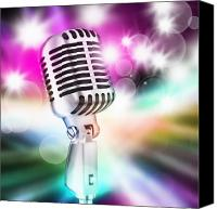 Perform Canvas Prints - Microphone On Stage Canvas Print by Setsiri Silapasuwanchai