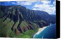 Overlook Canvas Prints - Na Pali Coast Aerial Canvas Print by Bob Abraham - Printscapes