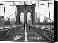 Bw Canvas Prints - NYC Brooklyn Bridge Canvas Print by Nina Papiorek