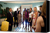 Barack Canvas Prints - President Barack Obama Meets Canvas Print by Everett