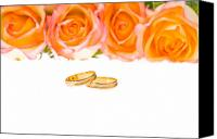 Engagement Canvas Prints - 4 Red Yellow Roses And Wedding Rings Over White Canvas Print by Ulrich Schade