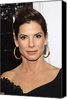 Gold Earrings Photo Canvas Prints - Sandra Bullock At Arrivals For The Canvas Print by Everett