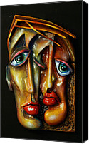 Portraits Reliefs Canvas Prints - Together Canvas Print by Michael Lang