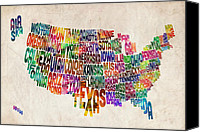 Watercolor Canvas Prints - United States Text Map Canvas Print by Michael Tompsett