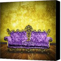 Old Wall Canvas Prints - Victorian Sofa In Retro Room Canvas Print by Setsiri Silapasuwanchai