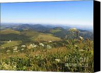 Chains Canvas Prints - view from Puy de Dome onto the volcanic landscape of the Chaine des Puys. Auvergne. France Canvas Print by Bernard Jaubert