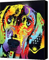 Animal Art Mixed Media Canvas Prints - Weimaraner Canvas Print by Dean Russo