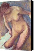 Sensual Pastels Canvas Prints - Woman Drying Herself Canvas Print by Edgar Degas