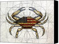 Flag Canvas Prints - 4th of July Crab Canvas Print by Charles Harden
