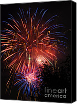 Pyrotechnics Canvas Prints - 4th of July Fireworks - Salt Lake City- Utah Canvas Print by Gary Whitton