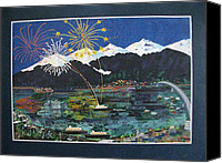 4th July Painting Canvas Prints - 4th of July in Juneau Alaska Canvas Print by Sunny Eccleston