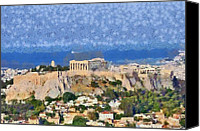 Paint Canvas Prints - Acropolis of Athens Canvas Print by George Atsametakis