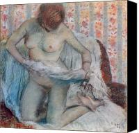 Sensual Pastels Canvas Prints - After the Bath Canvas Print by Edgar Degas