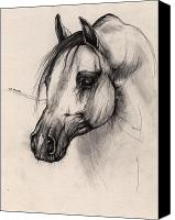 Arabian Horse Drawings Canvas Prints - Arabian Horse Canvas Print by Angel  Tarantella