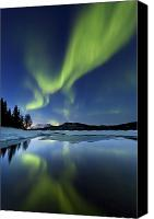 Polar Aurora Canvas Prints - Aurora Borealis Over Sandvannet Lake Canvas Print by Arild Heitmann