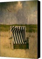 Gull Photo Canvas Prints - Beach Chair Canvas Print by Joana Kruse