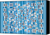 Modern Drawings Canvas Prints - Blue Abstract Canvas Print by Frank Tschakert