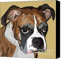 Pet Portrait Digital Art Canvas Prints - Boxer Dog Portrait Canvas Print by Robyn Saunders